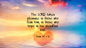 The LORD takes pleasure in those who fear him, in those who hope in his steadfast love. Psalm 147 v 11